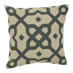 "Villa Home - Versailles Linen Tile Applique Accent Pillow - Comfort is the ultimate luxury, and beautiful pillows can enhance your home without much effort. Each collection combines the rich beauty of hand-crafted embroidery, beading and decorative art. Features: -Versailles collection. -Material: 100% Linen. -Pillows include feather down inserts. -Applique: 70% Wool, 30% nylon. -Spot clean with clean damp cloth of similar color or as specified on care label. -Overall Dimensions: 18"" W x 18"" D, 2 lbs."