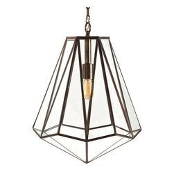 Edmond Brass/Glass Hexagon Pendant - An Art Deco goddess of a pendant lamp, this faceted diamondesque design is segmented into high-style angles by antique brass trim. The effect could translate into a glamorous accessory for midcentury looks or play the part of a modern accent with retro soul. Either way, it remains an ultimate fashion-forward fixture.