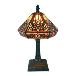 WAREHOUSE OF TIFFANY - Tiffany Style Floral Mosaic Table Lamp - •Stained Glass