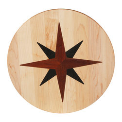 Kentucky Cutting Boards - Round Lazy Susan with Nautical Star - Maple, walnut and cherry wood combine to create this American made, round Lazy Susan with a nautical star inlay. Place your condiments or serving dishes on this incredibly useful tool  and rotate it in any direction.