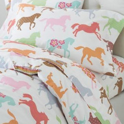 Garnet Hill - Pony Up Percale Duvet Cover - Double/Queen - Pony - Pony Up percale bedding is a sophisticated update on an imaginative motif made popular by our beloved Painted Ponies bedding. These combed long-staple cotton sheets showcase horses in a mix of patterns and colors, perfect for the aspiring equestrian, veterinarian or cowgirl. 200 thread count. Fitted sheet is fully elasticized for a better fit.