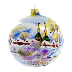 """""""Church"""" Hand Painted Christmas Ball. Made in Ukraine - """"Church"""" hand painted glass Christmas ball ornament is 4"""" (100 mm) in diameter and made of hand blown glass by skillful artists in Ukraine. This beautiful see through ornament of a church will complement your glass Christmas collection. Fully hand painted. Made in Ukraine."""