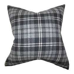 The Pillow Collection - Baxley Plaid Pillow, Grey - Add a touch of masculinity into your bedroom, living room or office space with this graphic throw pillow. This accent piece features a classic plaid pattern in various shades of gray and white. This accent pillow lends comfort and texture to your sofa, bed or seat. Made of 100% high-quality wool material. Hidden zipper closure for easy cover removal.  Knife edge finish on all four sides.  Reversible pillow with the same fabric on the back side.  Spot cleaning suggested.