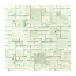 Somertile - SomerTile 12x12-in Reflections Versailles Ming Glass/Stone Mosaic Tile (Pack of - Create a gorgeous backsplash in your kitchen or decorate your bathroom with this translucent glass/stone mosaic tile. These easy-to-install,mesh-mounted tiles are grade one and impervious to water. Each set comes with a pack of 10 tiles.
