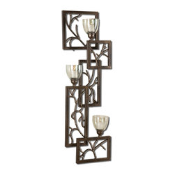 Uttermost - Iron Branches Wall Sconce - This Decorative Wall Sconce Features Dark Bronze Metal With Light Green Luster Glass Candle Cups. White Candles Included.