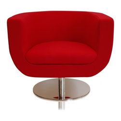 Lola Lounge Chair Red - Lola is not a name that can be ignored and neither can this Lola Lounge Chair! This red version of the Lola Lounge Chair will have guests alike asking about your innate decorating skills. Add this chair to any dreary room to take the space from drab to fab! The Lola Lounge Chair in red sits upon a reflective base and be coordinated with any of your white or black Modani Sectionals for that pop of color that you have been missing.