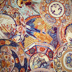 Oriental fabric vintage Imari china - A woven upholstery fabric with vintage Japanese Imari china. This Imari china fabric is amazing! It is one of the most complex woven patterns we have seen.