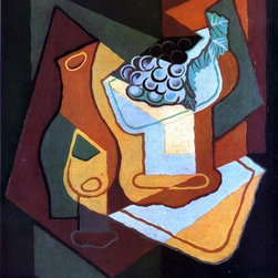 """Juan Gris Bottle, Wine Glass and Fruit Bowl - 16"""" x 20"""" Premium Archival Print - 16"""" x 20"""" Juan Gris Bottle, Wine Glass and Fruit Bowl premium archival print reproduced to meet museum quality standards. Our museum quality archival prints are produced using high-precision print technology for a more accurate reproduction printed on high quality, heavyweight matte presentation paper with fade-resistant, archival inks. Our progressive business model allows us to offer works of art to you at the best wholesale pricing, significantly less than art gallery prices, affordable to all. This line of artwork is produced with extra white border space (if you choose to have it framed, for your framer to work with to frame properly or utilize a larger mat and/or frame).  We present a comprehensive collection of exceptional art reproductions byJuan Gris."""
