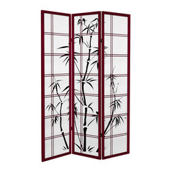 "Oriental Furniture - 6 ft. Tall Canvas Bamboo Tree Room Divider - Rosewood - 3 Panels - Add a touch of Asian flair to your home or business with our Canvas Bamboo Tree Room Divider. Printed on high-quality canvas stretched around a wooden frame, this room divider resembles a traditional shoji screen. Please note that the actual frame is on the inside, and the visible ""frame"" is part of the print."