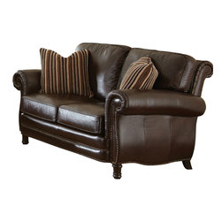 Steve Silver Furniture - Steve Silver Chateau Loveseat in Antique Chocolate Brown Leather - The Chateau Collection will add style and traditional sophistication to any home. The collection features a beautiful hand rubbed and finished semi- aniline leather that will provide years of beauty and comfort. The entire collection has hand sewn double stitched seams for added style and wear. It features a hand crafted frame for added style and grace. The back rail of the Chateau is fully padded and expertly tailored adding to the style and look of each piece. The legs of the Chateau are hand finished to a rich coffee brown which complements the overall look and style of the group.