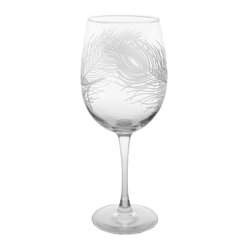 Rolf Glass - Peacock All-Purpose Large Wine Glass 19oz, Set of 4 - This elegant, generous crystal wineglass will accommodate red or white with grace. You'll want to have it on hand for your dinner parties.  A lush swirl of peacock feathers is etched round the glass.