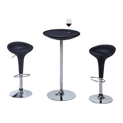 Global Furniture USA - M219BT + M219BS-BL Chrome & Black Leatherette Three Piece Bar Set - The M219BT + M219BS bar set adds a luxurious modern feel to any setting and will work with any decor. This table features a round top that is covered in black leatherette material. A metal shaft and base with a chromed finish adds to the contemporary look. Each stool comes upholstered in a beautiful black leatherette. The stools are height adjustable and have built-in footrests. The bar set shown includes one bar table and two stools.
