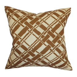 "The Pillow Collection - Rygge Bamboo Pillow Brown 20"" x 20"" - This nature-inspired throw pillow makes a good statement piece in your living room or bedroom. This square pillow features a unique geometric print which highlights bamboos crisscrossing against each other. This accent pillow complements most decor styles with its brown and tan color palette. Combine this pillow with other bamboo pillows to complete your decor collection. Made from 100% soft cotton fabric. Hidden zipper closure for easy cover removal.  Knife edge finish on all four sides.  Reversible pillow with the same fabric on the back side.  Spot cleaning suggested."