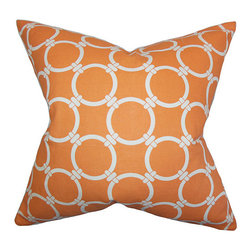 The Pillow Collection - Bechet Orange 18 x 18 Geometric Throw Pillow - - Pillows have hidden zippers for easy removal and cleaning  - Reversible pillow with same fabric on both sides  - Comes standard with a 5/95 feather blend pillow insert  - All four sides have a clean knife-edge finish  - Pillow insert is 19 x 19 to ensure a tight and generous fit  - Cover and insert made in the USA  - Spot clean and Dry cleaning recommended  - Fill Material: 5/95 down feather blend The Pillow Collection - P18-PP-LINKED-APACHEORANGE_MAC