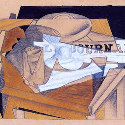 """Juan Gris Bowl, Glass and Newspaper - 16"""" x 24"""" Premium Archival Print - 16"""" x 24"""" Juan Gris Bowl, Glass and Newspaper premium archival print reproduced to meet museum quality standards. Our museum quality archival prints are produced using high-precision print technology for a more accurate reproduction printed on high quality, heavyweight matte presentation paper with fade-resistant, archival inks. Our progressive business model allows us to offer works of art to you at the best wholesale pricing, significantly less than art gallery prices, affordable to all. This line of artwork is produced with extra white border space (if you choose to have it framed, for your framer to work with to frame properly or utilize a larger mat and/or frame).  We present a comprehensive collection of exceptional art reproductions byJuan Gris."""
