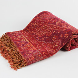Handwoven Jammu Throws - Handwoven with the twill-tapestry technique, the Jammu Throw is a blend of wool and silk.  Inspired by Mughal style, each throw features a varying complexity of paisley designs on front and back.