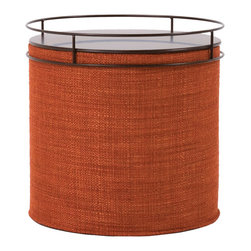 Howard Elliott - Coco Coral No Tip Cylinder Ottoman - The No-Tip Cylinder is constructed with a dense light-weight foam and then topped off by a soft, high quality foam making it sturdy yet comfortable. Its unique design allows weight to be distributed evenly keeping it from tipping like most foam ottomans. This Coco Coral piece is 66% polyester 34% acrylic finished in rich terra cotta red-orange. 18 in. Diameter x 17 in. H
