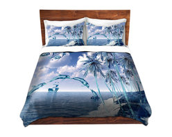 DiaNoche Designs - Duvet Cover Twill by Mark Watts - Aquatic Reflections - Lightweight and super soft brushed twill Duvet Cover sizes Twin, Queen, King.  This duvet is designed to wash upon arrival for maximum softness.   Each duvet starts by looming the fabric and cutting to the size ordered.  The Image is printed and your Duvet Cover is meticulously sewn together with ties in each corner and a concealed zip closure.  All in the USA!!  Poly top with a Cotton Poly underside.  Dye Sublimation printing permanently adheres the ink to the material for long life and durability. Printed top, cream colored bottom, Machine Washable, Product may vary slightly from image.