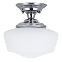 Sea Gull Lighting - Sea Gull Lighting 77436 Academy One Light Small Semi-Flush Mount Ceiling Fixture - The Academy Collection of bathroom fixtures reinterpret the classic utilitarian schoolhouse fixture with contemporary materials and design.Features: