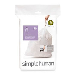 Simplehuman - simplehuman 10-Liter Sure-Fit R Bin Liner - Get the perfect fitting bag liner for your trash can. Durable liners feature carrying handles for convenience and are easy to insert. 10-liter liners are sold in packs of 20.