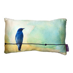 Tempo Luxury Home - Borrowed Feathers Pillow by Joe Ginsberg for Tempo Luxury Home - A vision of blue and aquamarine. Imagination takes flight. A breathtaking accent pillow for the bedroom or living area. Borrowed Feathers is printed on silk charmeuse; velvet-textured backing in Silver. Fill: 75% goose down; 25% feather. The Fable Collection is made to order.