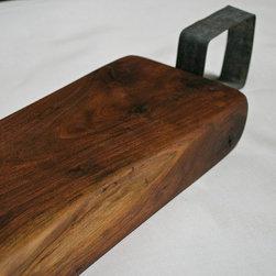 Reclaimed wood serving blocks - Black walnut; wine hoop handles; food-safe