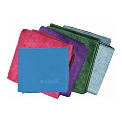 E-Cloth Starter Pack - The E-Cloth starter pack 5 piece set includes (4) 12.5 x 12.5 inch general purpose cloths and (1) 16 x 20 inch glass & polishing cloth. E-Cloth fibers attract moisture dirt grime and bacteria and clean and lift with no harsh household chemicals. E-Cloth is proven to remove over 99% of all bacteria from hard surfaces using only water.