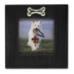 "Lawrence Frames - 4x4 Black Wash Dog Frame with Bone Ornament - What better way to show off that great photo of your adoring dog than with this high quality picture frame!  Beautifully distressed for a casual designer look.  Hand finished and weathered so that no two frames are alike. Decorated with a beautiful and playful chrome ""bone"" ornament. Finished with a high quality black masonite backing for tabletop display.  This frame comes with glass to protect your photo, and is Individually boxed."