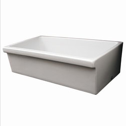 "Whitehaus - Whitehaus Whq536-White Large Quatro Sink - Large Quatro Alcove reversible fireclay sink with decorative 2 1/2"" lip on SIDE A and 2"" lip on SIDE B"