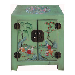 Golden Lotus - Nightstand End Table Chinese Green Butterfly Kids Painting Cabinet - This is a Chinese green kid painting nightstand end table which is made of solid elm wood.  The top of cabinet has butterfly hand painting on it.  This end table is made of very solid wood, and it is heavy than regular nightstand end table.