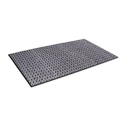 Crown - Crown Tire-Track Scraper Mat, Needlepunch Polypropylene/Vinyl,36 x 60,Gray - Set the wheels in motion for a cleaner entryway. This contemporary mat with tire-track pattern is perfect for any high-traffic area, such as schools, restaurants, malls and hotels. Heavy-duty surface is made of needlepunch polypropylene, which guarantees maximum water absorbency and durability. Lower layer holds more than a gallon of fluid per square yard. Vinyl, slip-resistant backing.