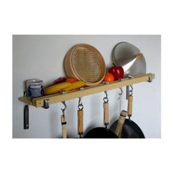 Taylor and Ng - Track Wall Pot Rack in Natural Finish - Optional eight hanging links. Wall mounted. Made from bamboo and cast aluminum. Rectangular shape. Distance from ceiling: 22 in.. Hanging link: 1.13 in. L x 0.19 in. W x 3 in. H (0.38 lbs.). Pot rack with hooks, wall brackets and shelf: 36 in. W x 2 in. D x 8 in. H. Pot rack: 36 in. W x 8.38 in. D x 8.63 in. H (8.20 lbs.). Includes mounting hardware, instructions booklet, four pan hooks, two swivel hooks, two bars, wall brackets and screws. Assembly required. Made in Taiwan. 360 degree swivel hooks. Mounts directly to studs 32 in. on center. Two sturdy aluminum wall brackets. Wall brackets support to 5 in. wide matching bamboo shelf to hold spice jars, cookware covers and pantry ware