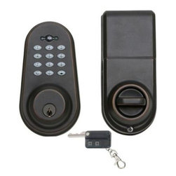 Delaney - Privex Single Cylinder Digital Deadbolt with Remote Control and Exterior Keypad, - The Privex KP200 electronic deadbolt provides the security of a deadbolt with the convenience of touchpad entry. Recommended for use as an auxiliary lock to most knobs, levers, and handlesets. The single cylinder design provides a thumb turn on the inside for quick and easy exit.