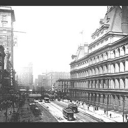 """Buyenlarge.com, Inc. - Government Square, Cincinnati - Paper Poster 20"""" x 30"""" - Another high quality vintage art reproduction by Buyenlarge. One of many rare and wonderful images brought forward in time. I hope they bring you pleasure each and every time you look at them."""