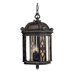 None - Hanging Lantern 4-light Outdoor Marbleized Mahogany Light Fixture - This Florence collection 4-light hanging lantern is made primarily of non-metallic polyresin material. This assures that it will not rust, tarnish, or corrode. The clear beveled and florentine scavo glass adds an interesting antique design element.