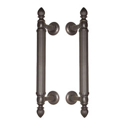 "First Impressions - Elegant Reed Glass Shower Door Pulls - For over 10 years, First Impressions has been designing and manufacturing the most beautiful custom door pulls for homes, right here is the U.S.A. Dress up your glass shower doors with these pulls made of solid brass in most any size, hand finished in your choice of 10 different high quality finishes.  Shown in oil rubbed bronze and priced as 7-5/8"" long pair."