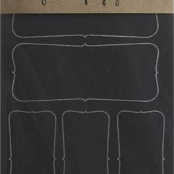"""Set of 16 Chalkboard Sticker Labels - Charming perpetual labels identify an endless array of jams, pickles, preserves and other canned foods. Self-adhesive, reusable vinyl labels feature a quaint design and """"chalkboard"""" surface that wipes clean with a damp cloth. Write or draw on labels with soapstone chalk (not included)."""