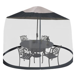 Trademark Global - Outdoor Umbrella Table Screen in Black - Lightweight. Cinch top adjustable closure for a custom fit. Drawstring top closure. Large zippered entrance. Bottom with built in water fillable tube keeps screen in place. Durable see-thru mesh. Fits umbrella up to 7.5 ft. Dia.. Weight: 3 lbs.Keep pests from bothering your outdoor fun! No more mosquito bites or flies nipping at your food.
