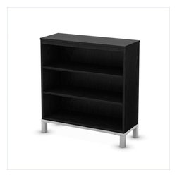 South Shore - South Shore Flexible 3 Shelf Bookcase in Black Oak - South Shore - Bookcases - 3347766 - This Flexible Bookcase features 3 storage spaces separated by 2 adjustable shelves. The metal legs are matched with a metal-like base and a rich Black Oak finish that blends well with any contemporary decor. Mix and match it with other items of the Flexible collection to customize your living areas according to your tastes and needs. Designed to be placed side by side the many possible combinations meet all sorts of requirements and can create perfectly tailored spaces. Whether it's in the bedroom, the living room or the playroom every items of this collection has a place in your home.