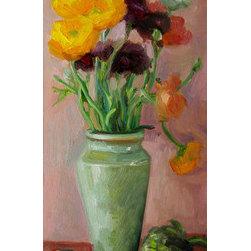 Yellow And Purple Ranunculi In Gray Vase (Original) by Carol Steinberg - From the Ranunculi series