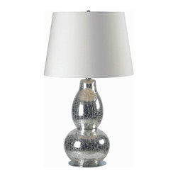 Kenroy Home - Kenroy 32041CHCR Mercurio Table Lamp - An unusually shaped body appears to be doing a balancing act with its two stacked forms, finished in an amazing Chrome Crackled Glass.