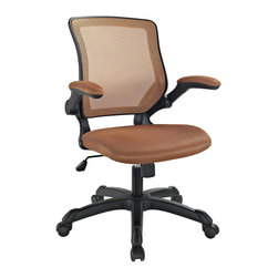 Modway Furniture - Modway Veer Office Chair in Tan - Office Chair in Tan belongs to Veer Collection by Modway Chart new territory while seated from the comfort of the Veer Chair. Veer features a form-fitted breathable mesh back and padded waterfall mesh seat to keep your back and thighs posture perfect. Easily adjust the height of Veer's arms to match your seating position and height. Securely lock your back in place with a user friendly seat tilt plus tension control knob--perfect for adjusting the chair to correctly fit your body weight. Adjust the seat height with a one-touch pneumatic lift with hooded dual-wheel casters to ensure effortless gliding over carpeted offices. Veer is a chair built for the progressive worker. Make yourself stand out as you venture forth from a place of naturally efficacious activities. Set Includes: One - Veer Office Chair with Mesh Back and Mesh Fabric Seat Office Chair (1)
