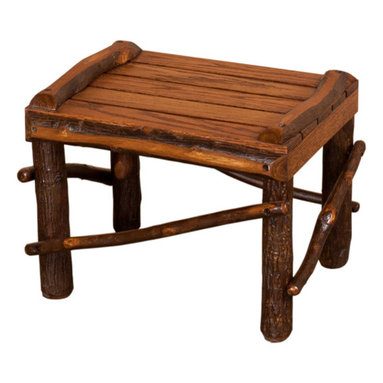 Amish Made Hickory Rocker (Lightly Stained), With Footrest - Includes Live Wood Slat Footrest.