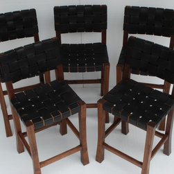 Walnut  & Bridle Leather Bar Stools - Set of five Bar Stools
