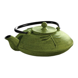 Epoca - Primula Cast Iron Teapot Green - Premium Myst 28 oz.  Cast Iron Green Teapot.  This Japanese cast iron tea pot with a dragonfly design symbolizes new beginnings and good fortune.  Cast iron distributes heat more evenly providing for better-tasting extracted tea.  Crafted with a cast iron exterior and fully enameled interior, it's made for durability and easy cleaning.  Includes a mesh loose tea infuser and a packet of loose green tea.
