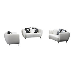VIG Furniture - 2946 White Bonded Leather 3 Piece Sofa Set - The 2946 sofa set is a great addition for any modern themed living room decor. This sofa set comes upholstered in a beautiful white bonded leather. High density foam is placed within the cushions for added comfort. Only solid wood products were used when crafting the sofa set making it very durable. The sofa set includes one sofa, loveseat, and chair only.