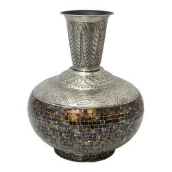 ecWorld - Urban Designs Artisan Handcrafted Glass Mosaic Metal Large Accent Vase - Make a stylish and distinct statement with this impressive mosaic vaset. Elegant and eye catching, perfect decorative pieces for an office, home, or any special space that may need a touch of class and style.