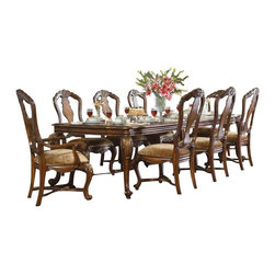 Hooker Furniture - Rectangle Dining Table - Invite all your friends. You can seat them in style around this stunning dining table that's fit for an Earl. The caramel finish with gold tipping is a dramatic flourish on a timeless masterpiece that will be in your family for years.