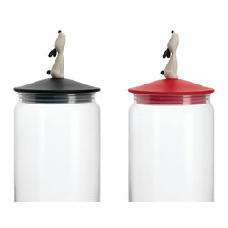 DOG JAR - GLASS CONTAINER FOR DOG FOOD - STARDUST - Dog Jar - Glass Container with Airtight Lid for Dog Food - from Stardust.  Part of the NEW Alessi collection - designed by Miriam Mirri; Lula Jar is a pet food container that is designed to be fully functional but highly decorative. Guaranteed to be loved by anyone who loves design and pets. A must have for any Alessi collector, the Lula Jar comes boxed in a classy Alessi box suitable for gift giving.  From Stardust.com