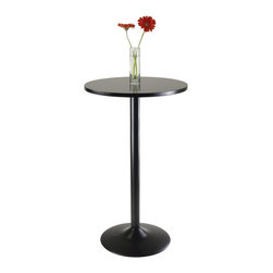 "Winsome Wood - Winsome Wood Obsidian Pub Table with Black Finish X-32102 - Sleek and stylish all black Pub Table.  Round Table Top is veneer in black on MDF with metal black coating for base.  Table size 23.66"" round by 39.76"" high.  Easy Assembly."